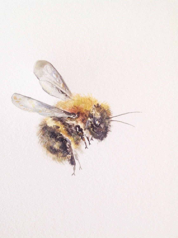 "watercolor painting, bumble bee, original fine art, 9""x12"". | bee"