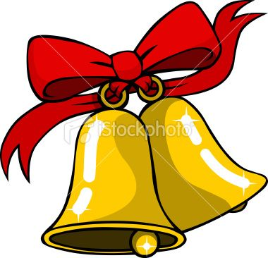 A Pair Of Shiny Golden Christmas Bells Tied With A Big Red Bow And Clip Art Pictures Christmas Bells Clip Art