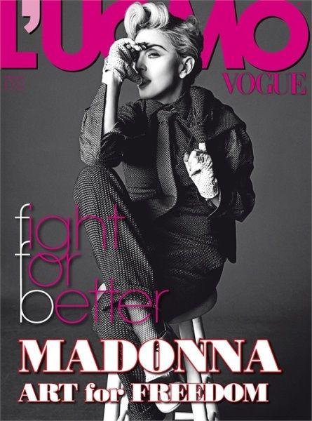Fotos lindas: Madonna mostra as tetas (para variar) na revista L'Uomo Vogue (+18)