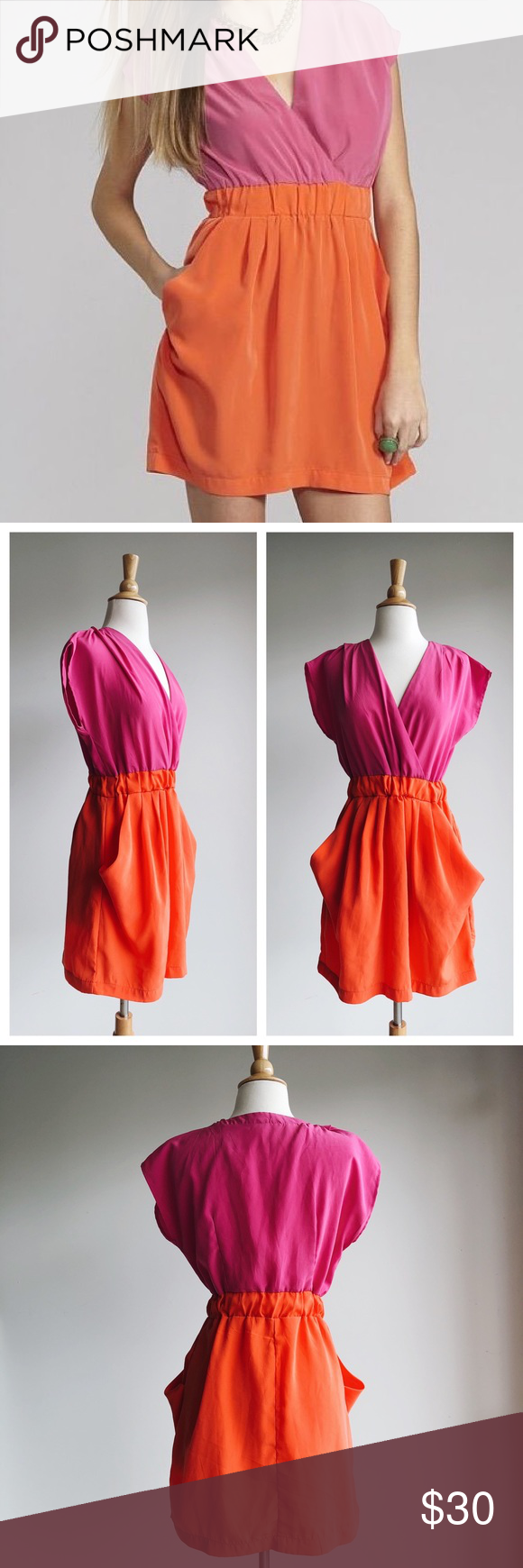 Bright pink dress for wedding guest  Gianni Bini Bright Pink and Orange Dress M Adorable summer dress