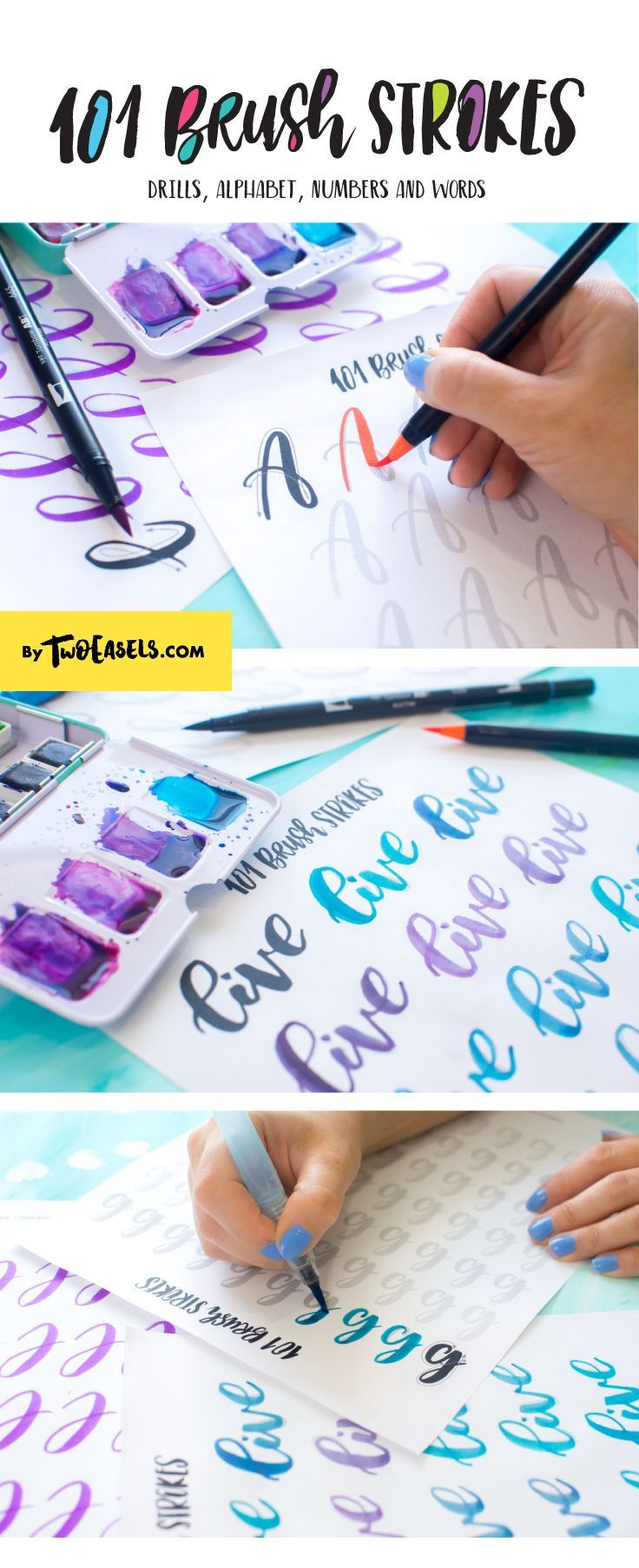 Improve your brush lettering with these worksheets. Everything from ...