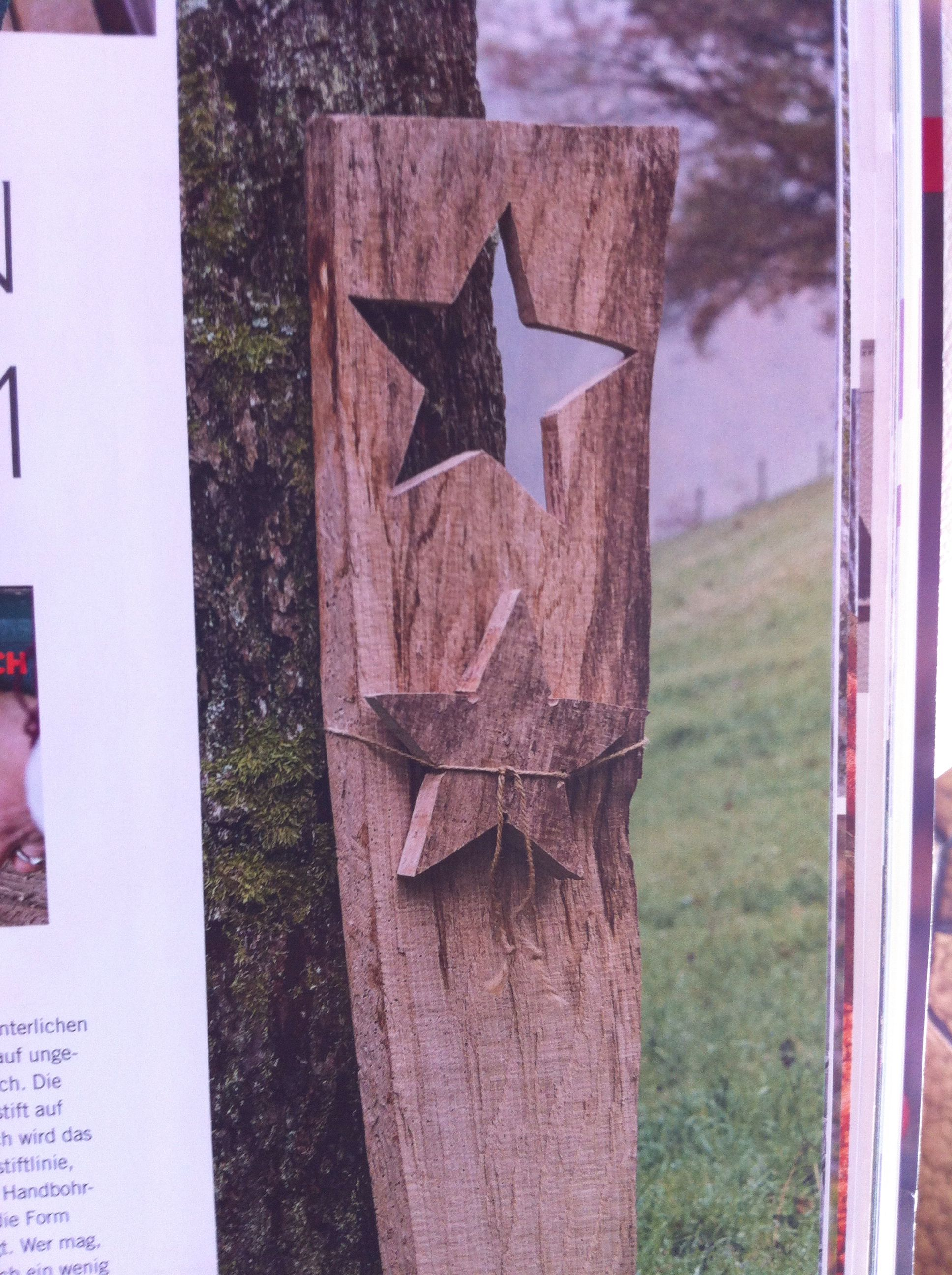 Holzstele als winterdeko f r den hauseingang aus der for Zeitschrift deko