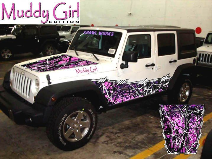 or Jeep 4x4 Pink Camo Fender Plastic Decal for Atv Truck