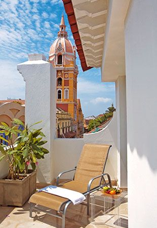 View To The Cathedral From Delirio Hotel Cartagena Colombia