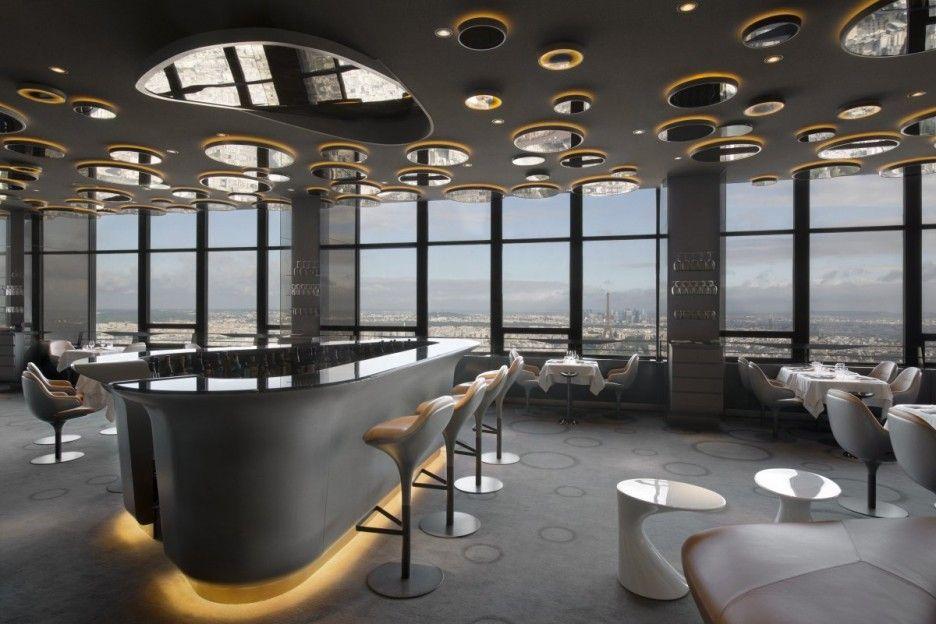 Amazing Beautiful Ciel De Paris Restaurant Interior Design Decorated With Modern  Ceiling Design And Glass Wall Decoration Home Design Ideas