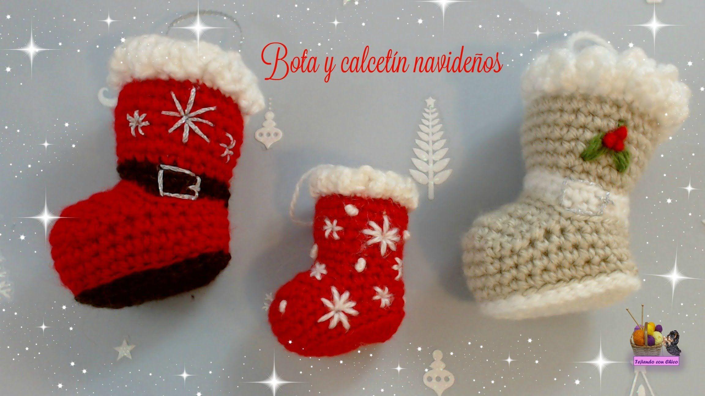 Bota o calcetín de crochet para adornar en Navidad (amigurumi ...