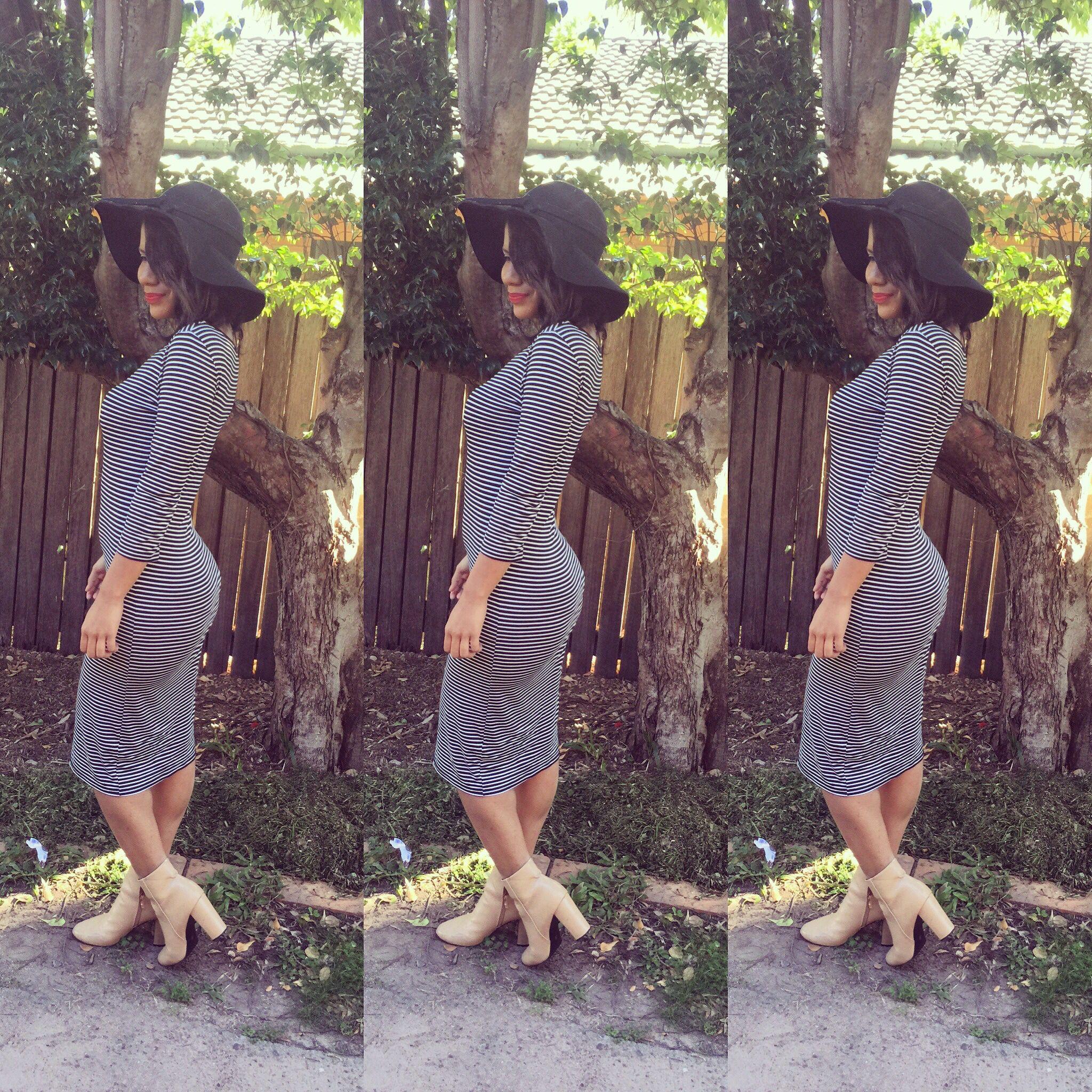 Casual long sleeve stripy dress