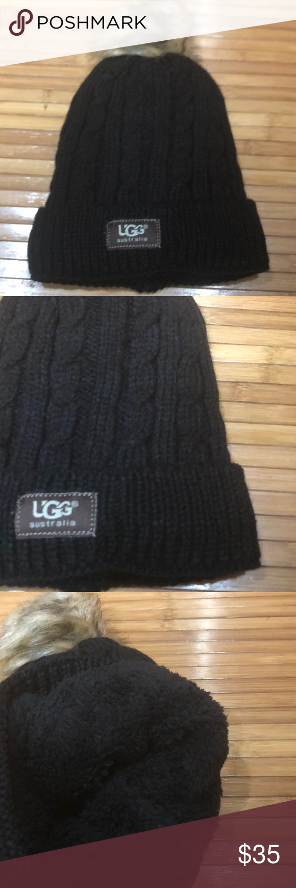 Black UGG hat. ⭐ Black hat with Pom Pom and cable stitches ... 4ac46aa49eb