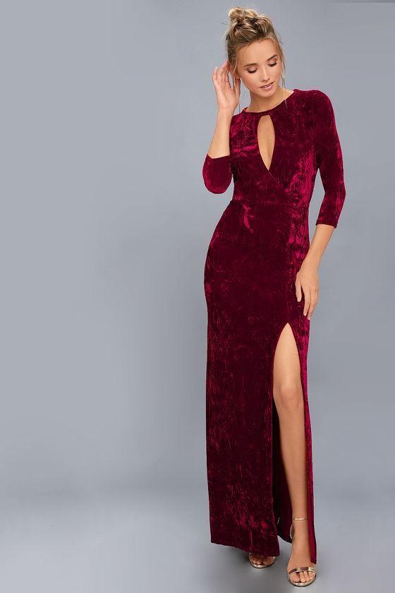 f9f235a3895  Lulus -  Lulus Keep Love Alive Wine Red Velvet Maxi Dress - AdoreWe.com