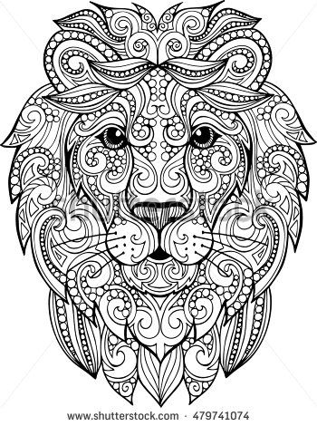 Lion Head Coloring Pages For Adults. Hand drawn doodle zentangle lion illustration  Decorative ornate vector head drawing for coloring book