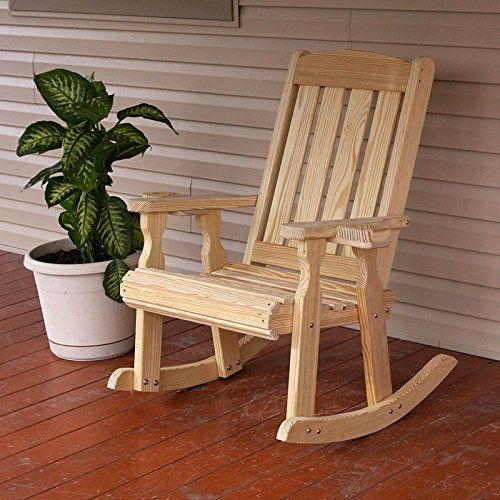 Amish Heavy Duty 600 Lb Mission Pressure Treated Rocking Chair With  Cupholders (Unfinished)