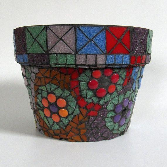 Multicolor Mosaic Flower Pot-home decor-garden