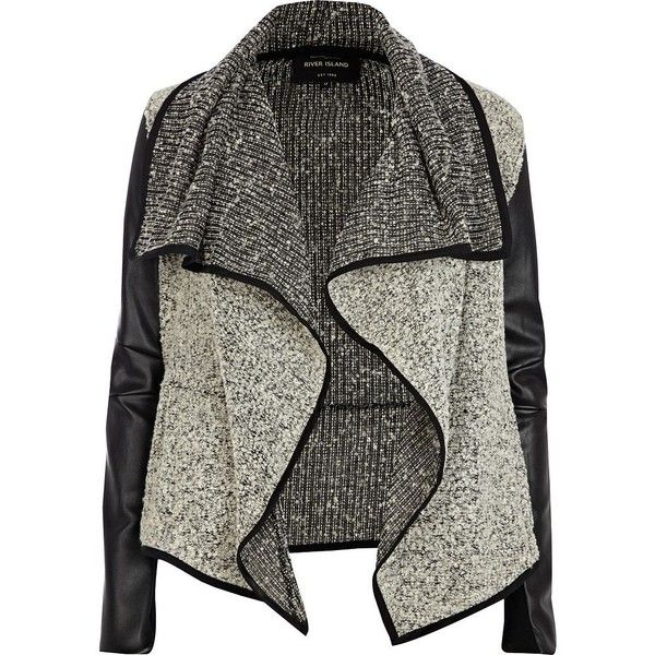 River Island Grey Boucle Leather Look Waterfall Jacket - Polyvore