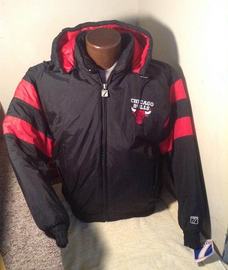 06a05d339639 NWT NEW Vintage XL Chicago Bulls Winter Jacket Hooded NBA Logo 7  Logo7   ChicagoBulls