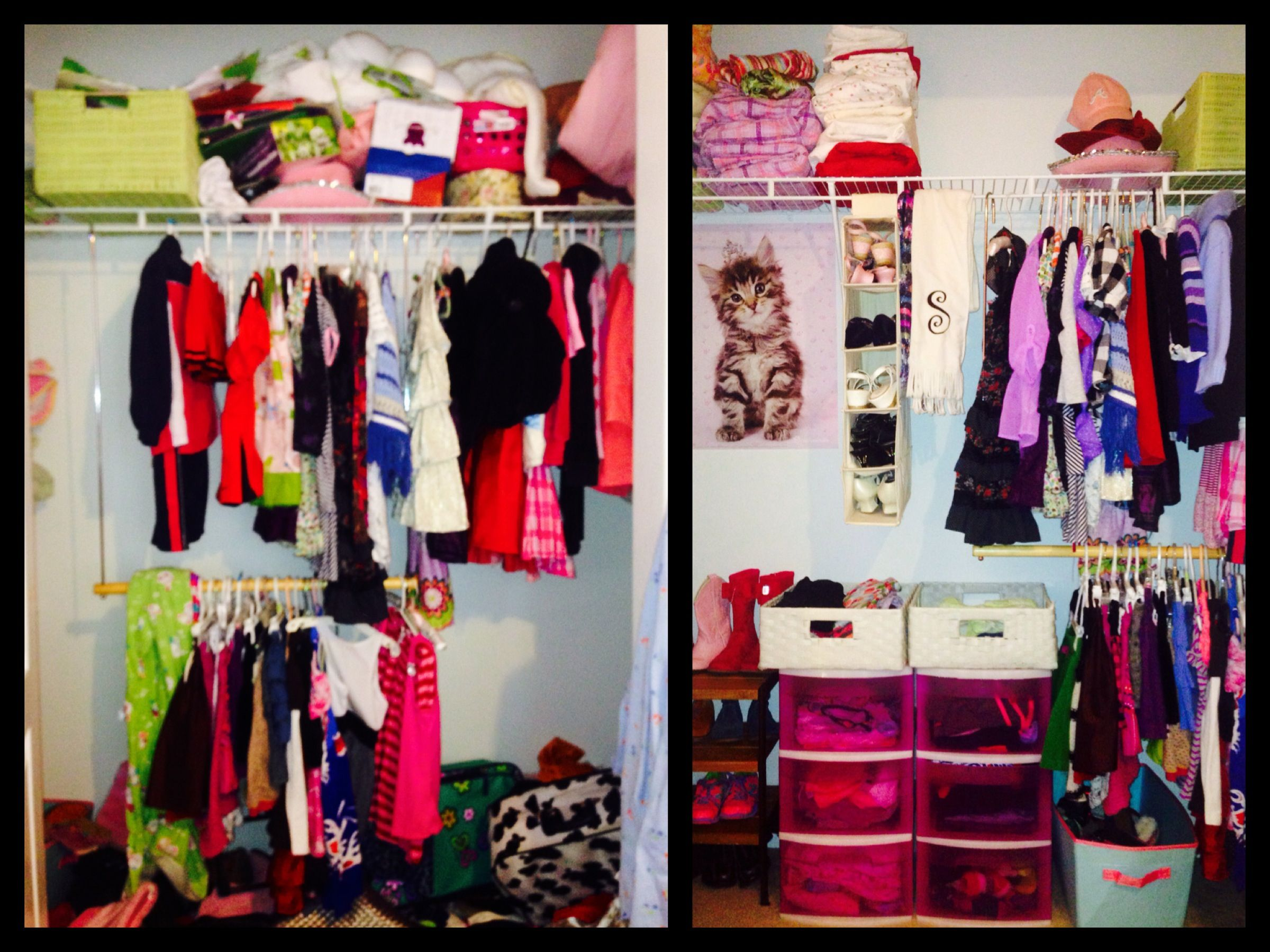 Before/After closet of a 5 year old