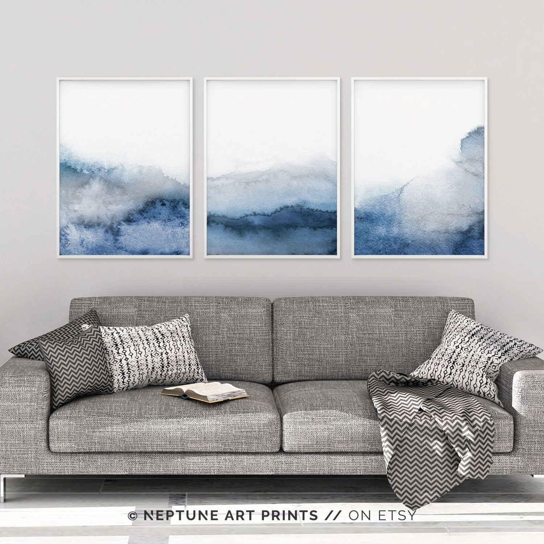 Set Of 3 Blue Gray Wall Art Printable Abstract Art Blue Grey Watercolor Print Blue Watercolor Neutral Art Simple Modern 3 Piece Art Grey Wall Art Blue Wall Art Navy Blue Wall Art