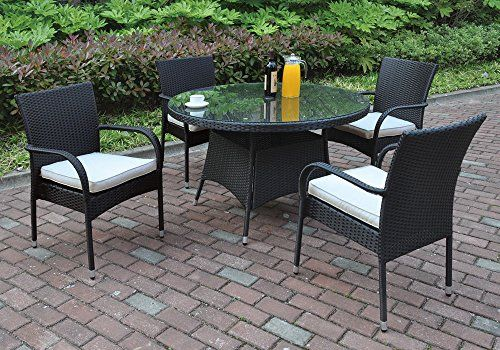 1perfectchoice 5 pcs outdoor patio dining set round glass table