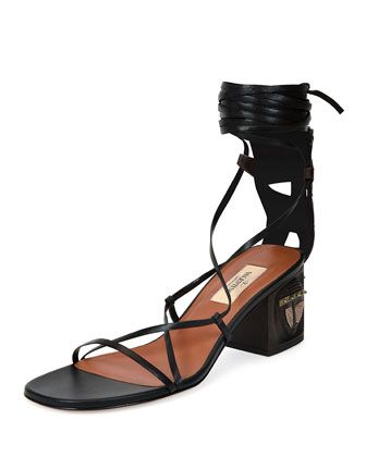 Mask-Heel+Lace-Up+Leather+Sandal,+Black/Brown+(Nero/Ebano)+by+Valentino+at+Neiman+Marcus.