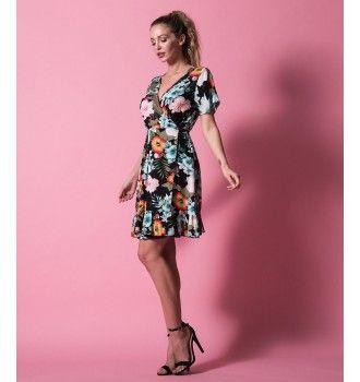 ea4b37ea4967 Μίνι Κρουαζέ Φόρεμα με Βολάν - Εμπριμέ Φλοράλ - Μαύρο