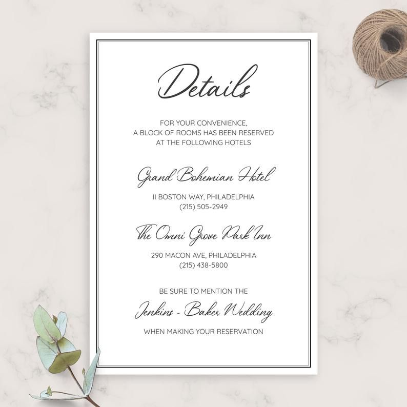 Simple Elegant Wedding Details Card Wedding Accommodations Etsy In 2020 Wedding Details Card Simple Elegant Wedding Wedding Details