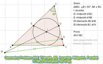 Dynamic Geometry Problem 894 Triangle Angle 60 Degrees