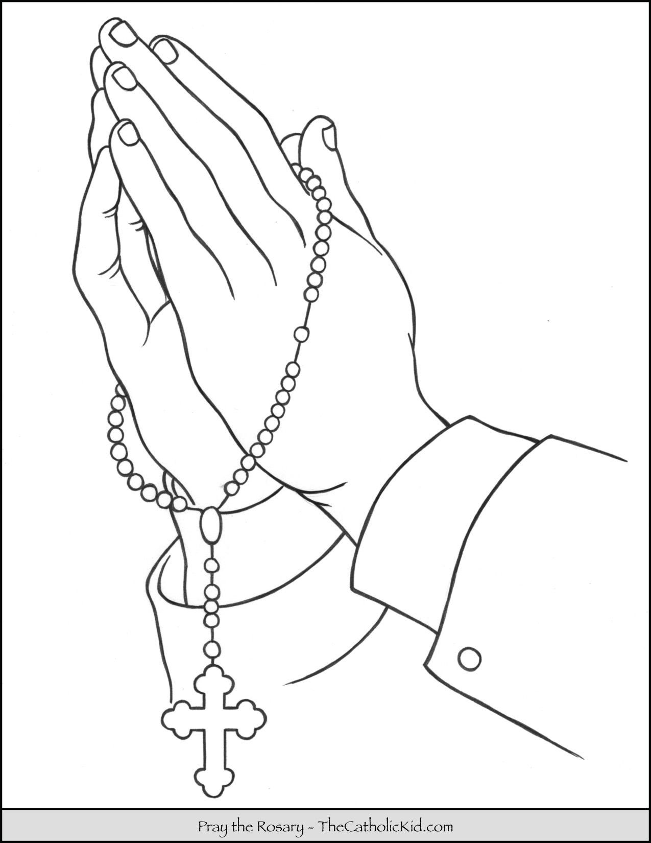 Rosary Hands Praying Coloring Page Thecatholickid Com