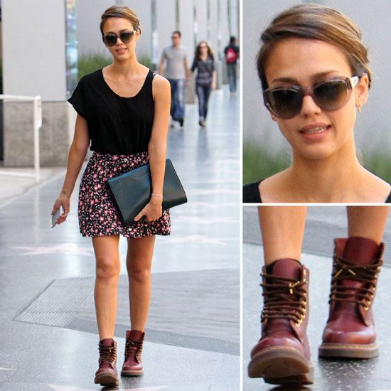 246e247a1f19 Jessica Alba Goes Girlie-Grunge in a Floral Skirt and Doc Martens ...