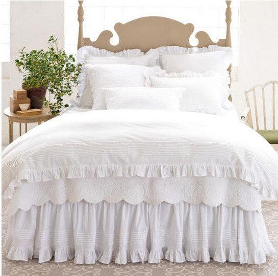 Lincoln Farmhouse Bedding Collection White Bed Skirt White Duvet Covers White Duvet