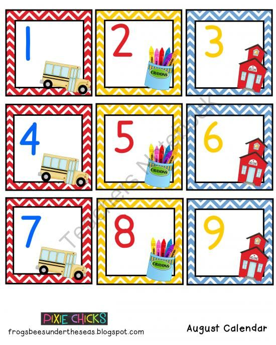 Calendar Numbers Clipart : Free august classroom calendar cards from pixie chicks