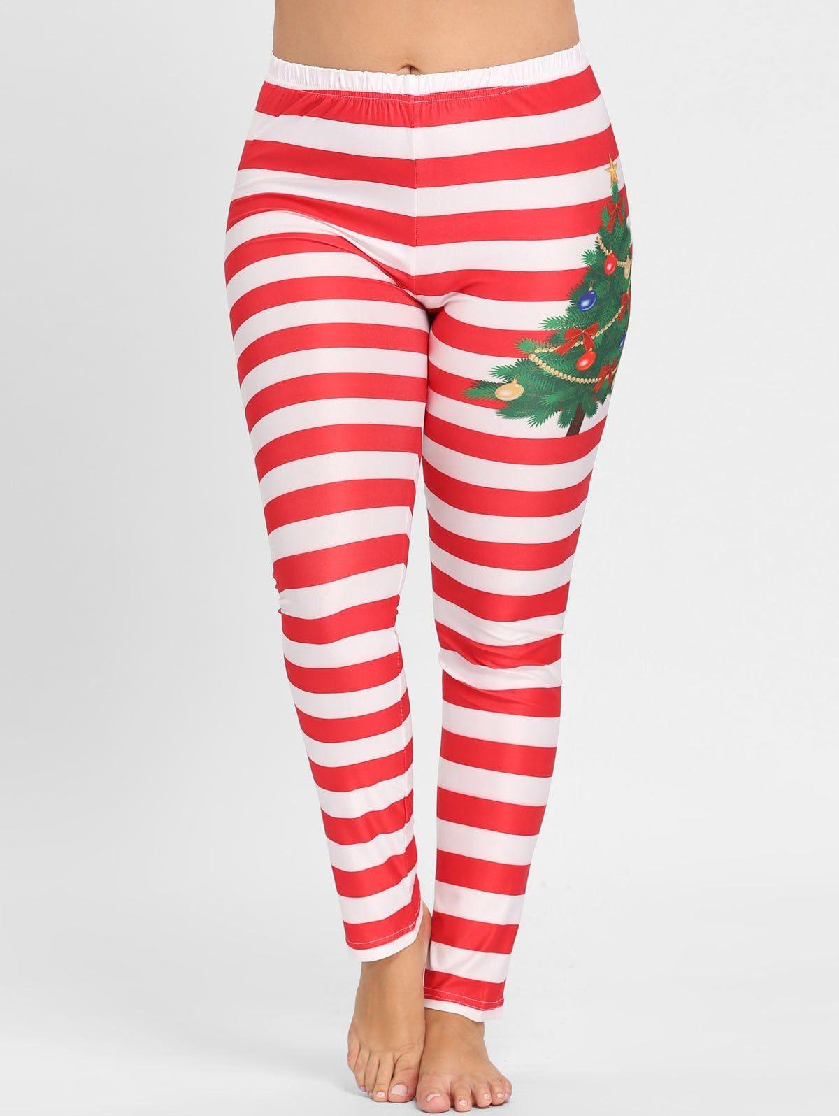 Plus Size Christmas Leggings.Plus Size Christmas Stripe Leggings Pants Fashion Outfits