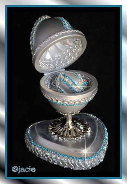 Made From A Real Goose Egg Stands Apx 6 Tall Lined With