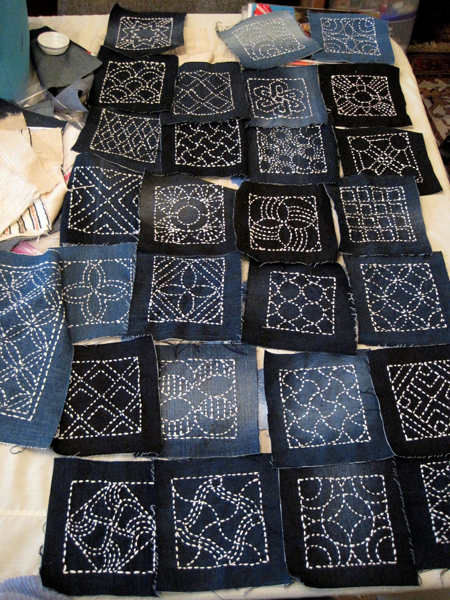 sashiko embroidery on denim