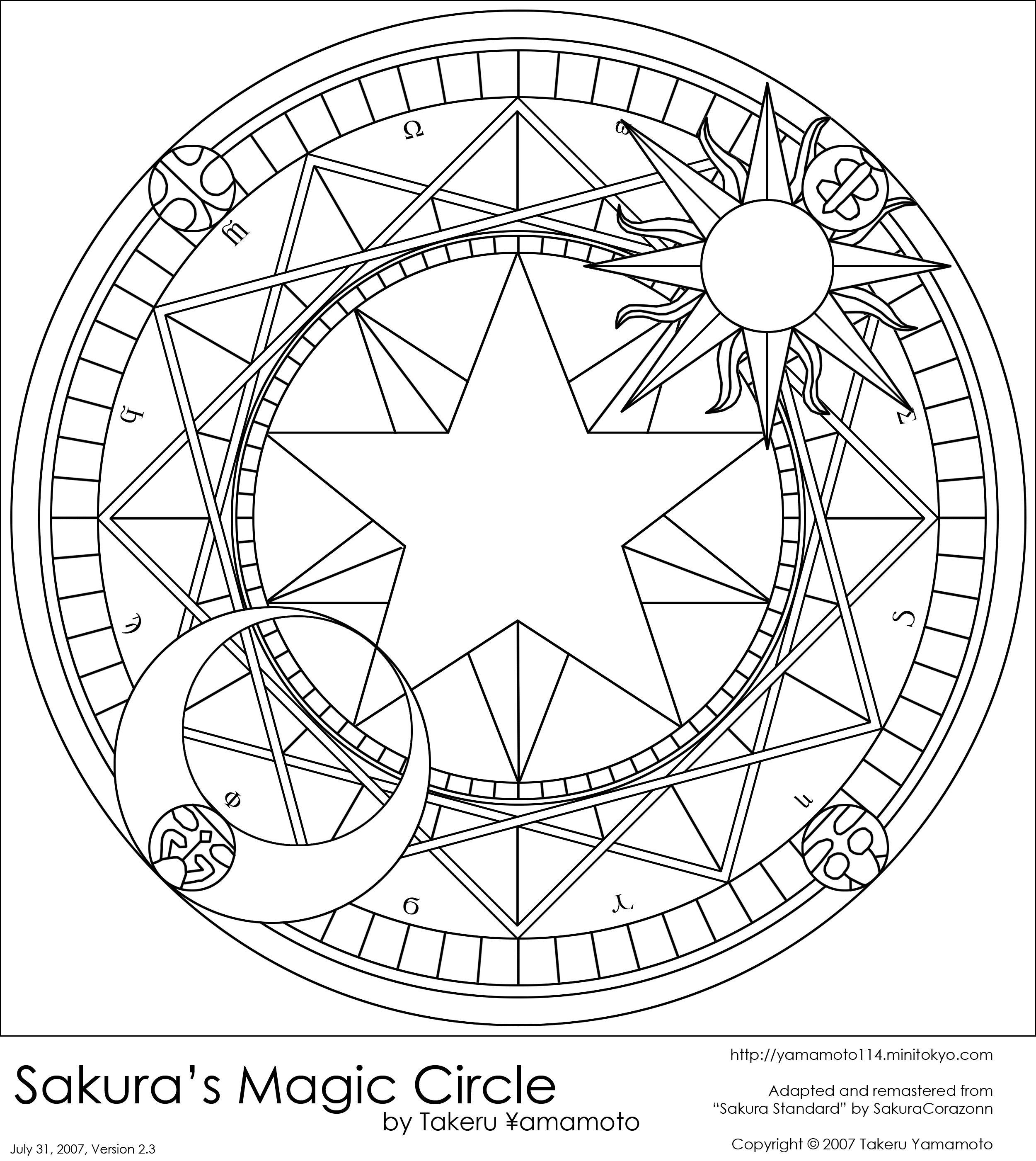 Sakura S Magic Circle By Olivebranchmlp On Deviantart Magic Circle Coloring Pages Coloring Book Pages