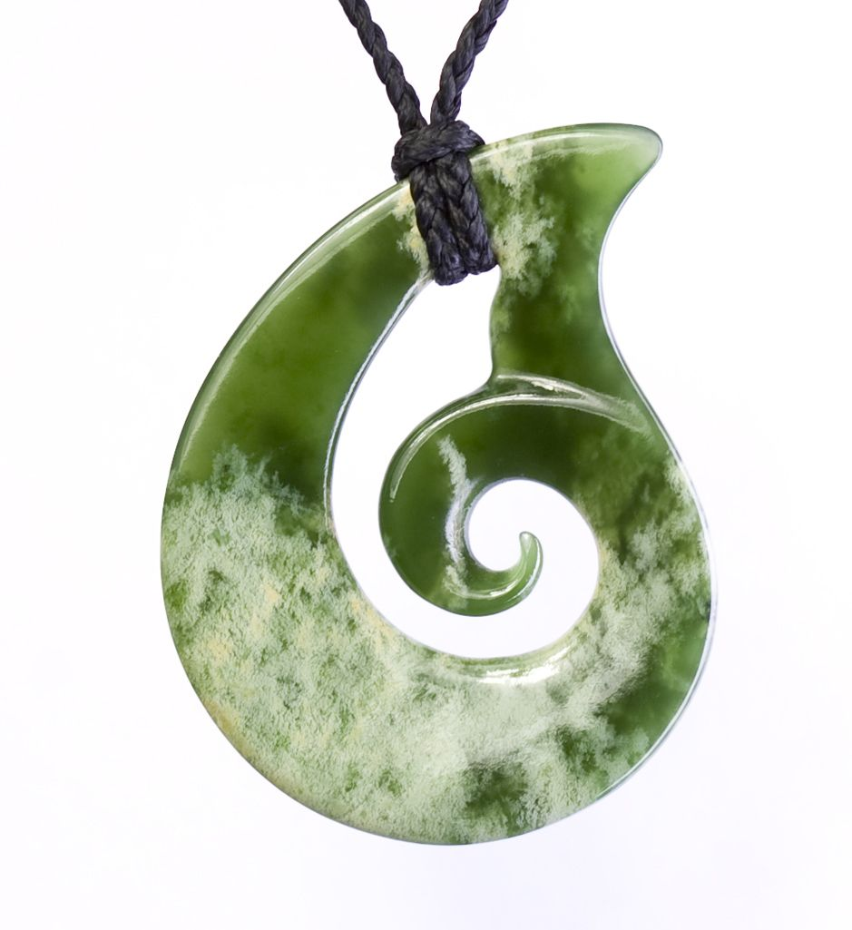 polished new zealand green jade teardrop koru necklace