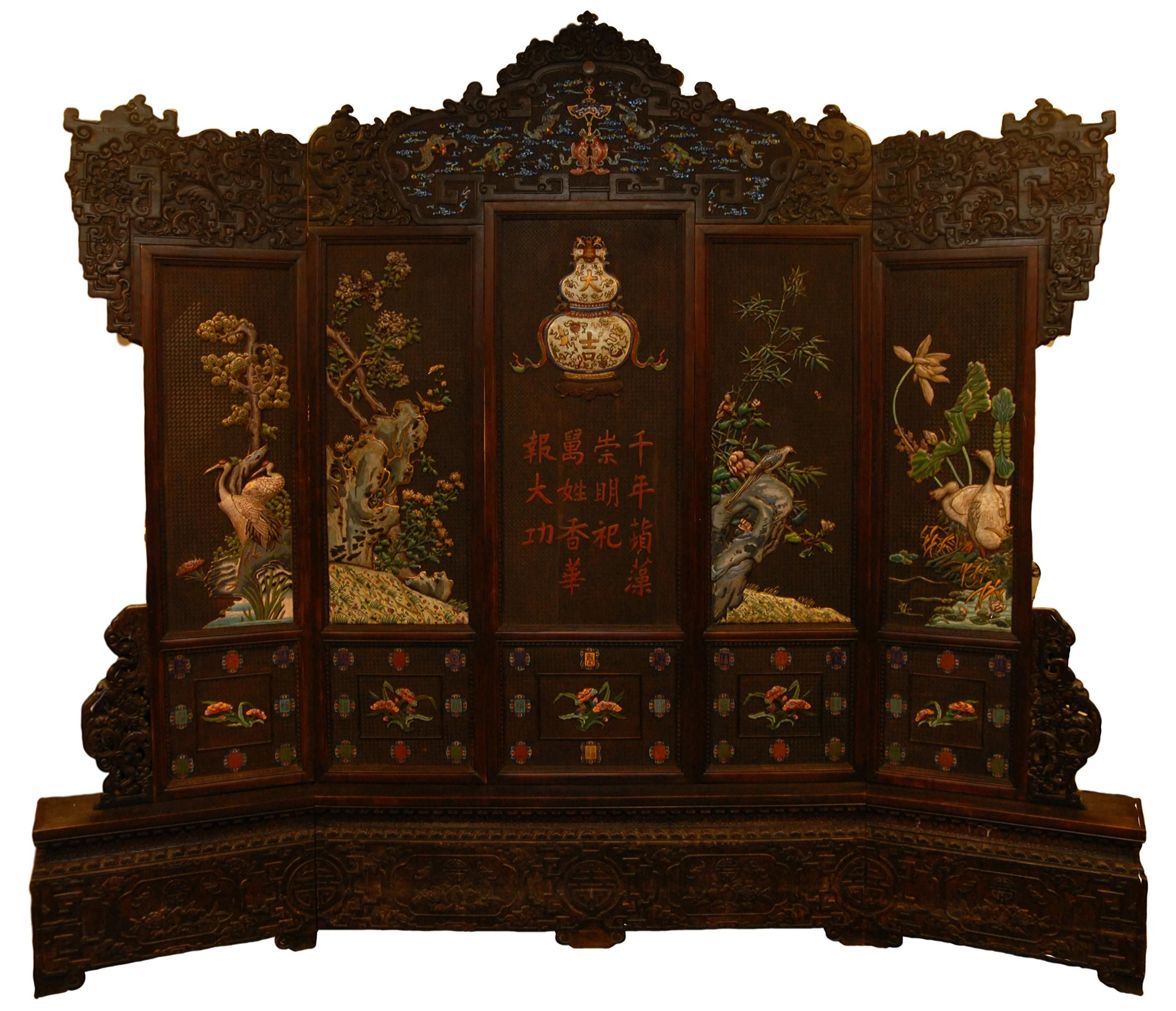18th c chinese zitan wood imperial throne screen a large 5 panel