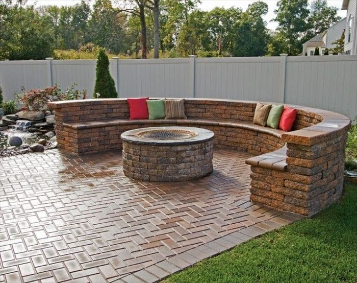 patio ideas with curved brick seating backyard patio with fire pitpatio design - Patio Design Ideas With Fire Pits