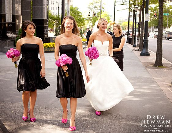 Short Black Bridesmaid Dresses And Hot Pink Flowers And Shoes Love