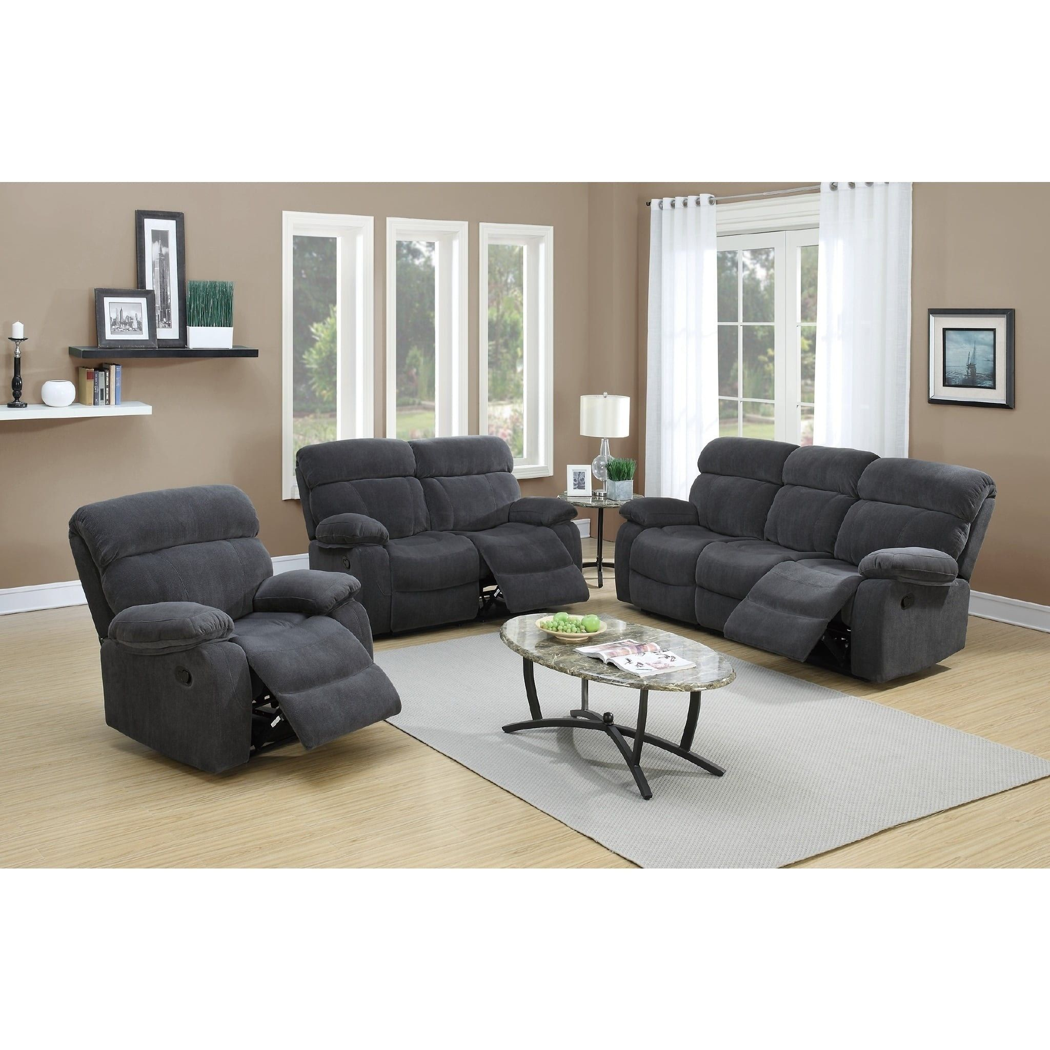 Vivi Motion 3 Piece Living Room Set Grey
