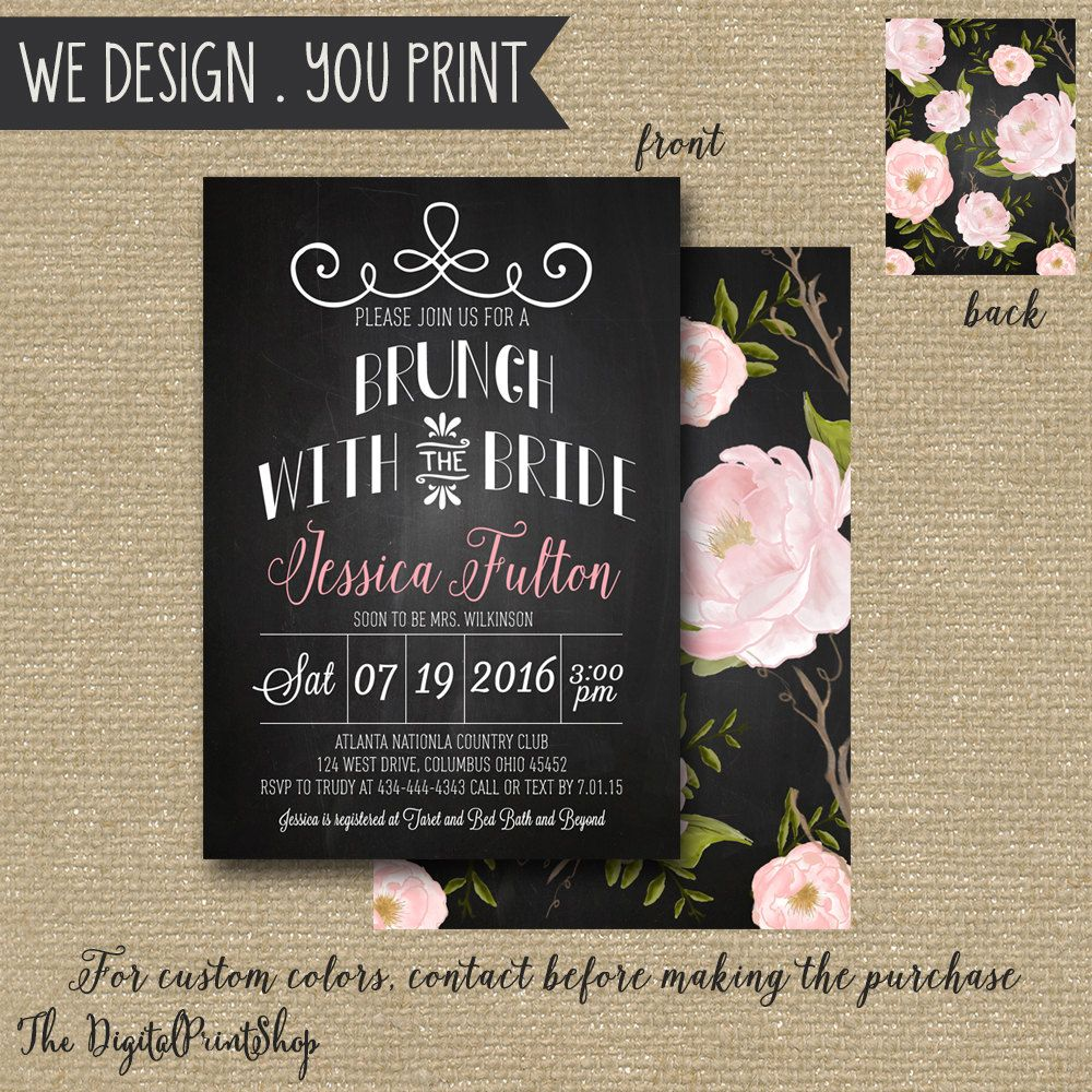 Rustic Garden Bridal Brunch Shower Invitation Invite Romantic Floral