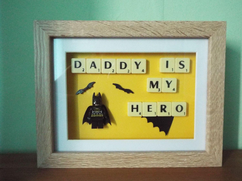 Daddy is my Hero Custom Batman Lego mini figure with scrabble tiles ...