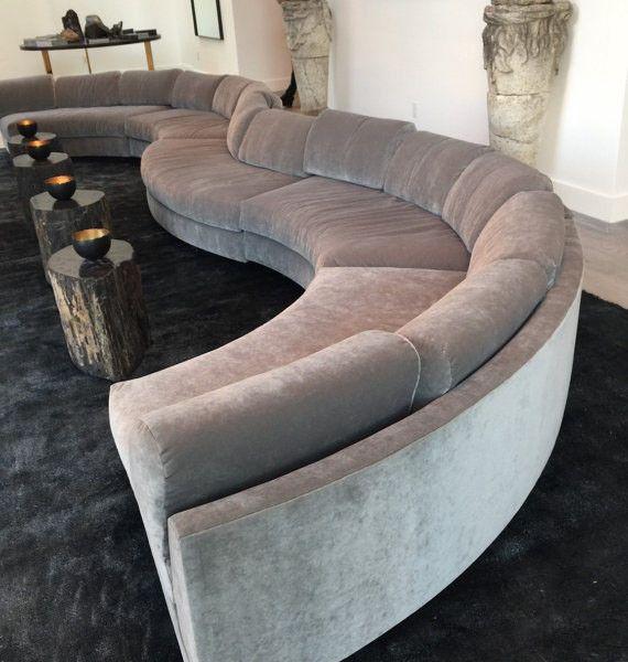 20 foot long grey gray modern velvet circle sectional sofa