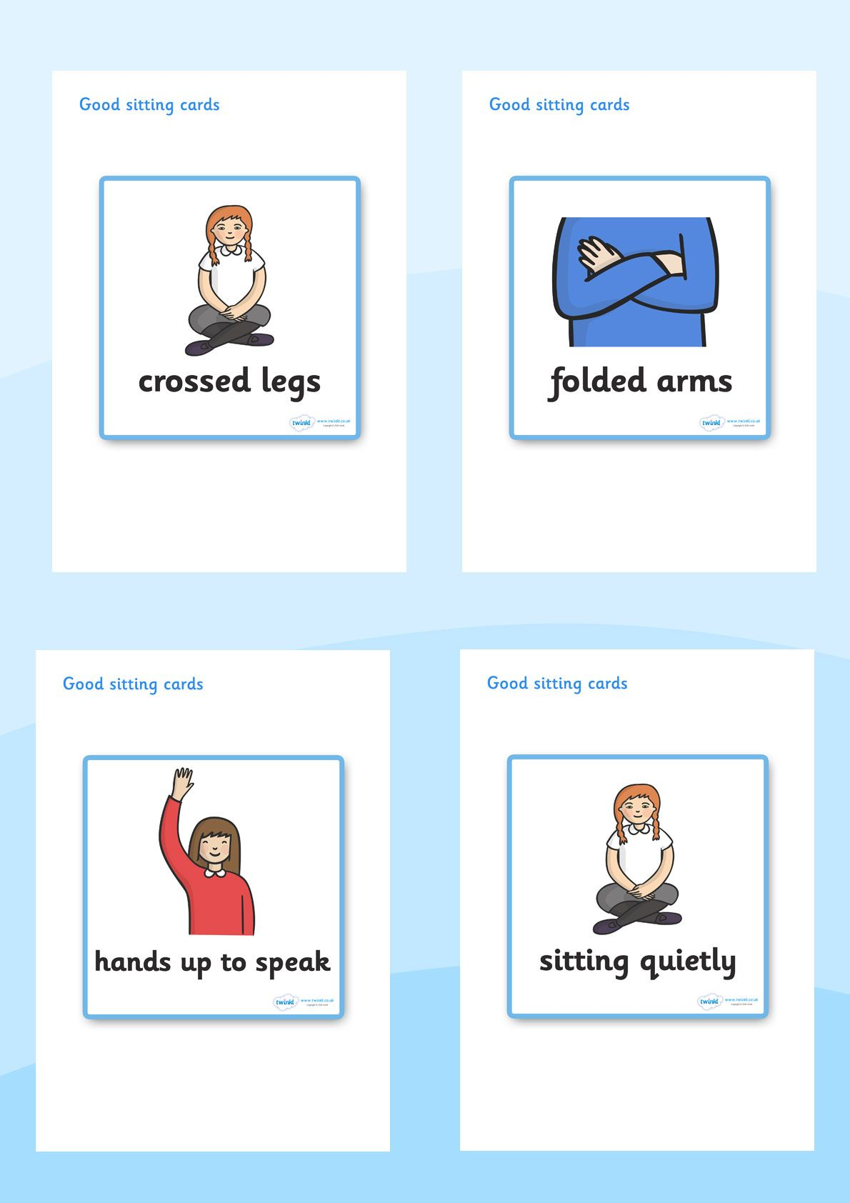 Twinkl Resources Gt Gt Good Sitting Cards Gt Gt Printable