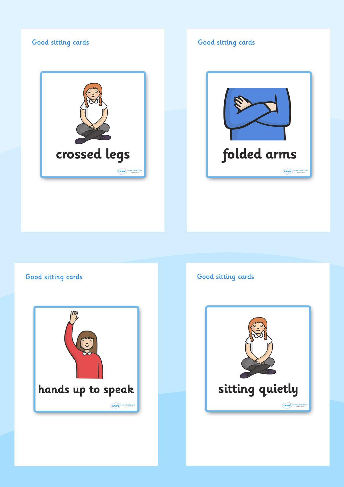Good Sitting Behaviour Cards Behavior Cards Classroom Rules Preschool Worksheets [ 1684 x 1190 Pixel ]