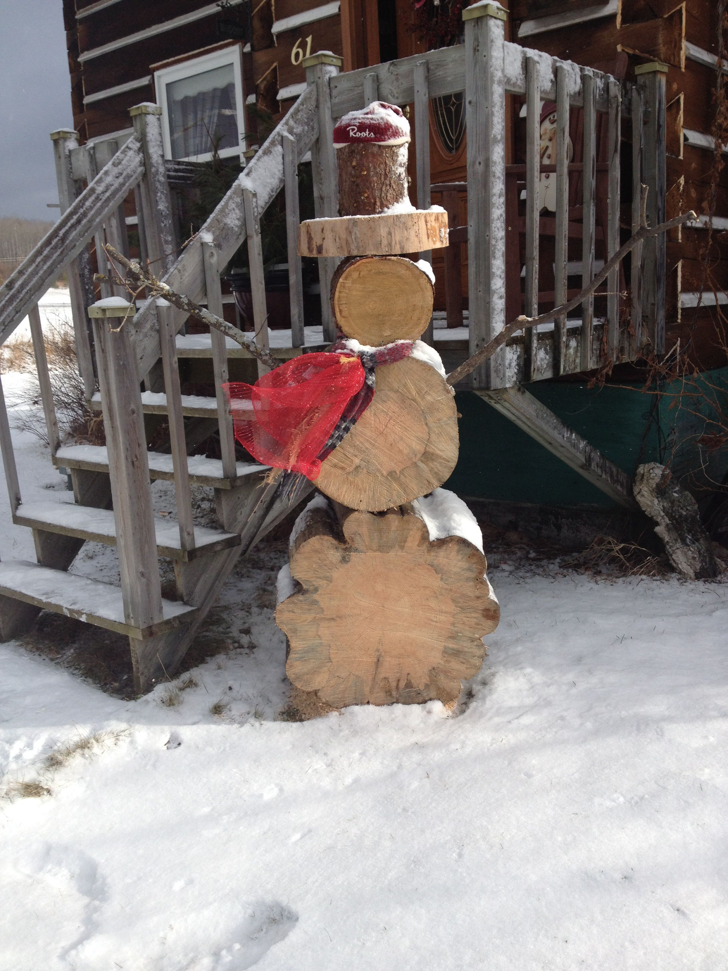 Tree trunk snowman Karla Pruitt Pruitt Olney Christmas
