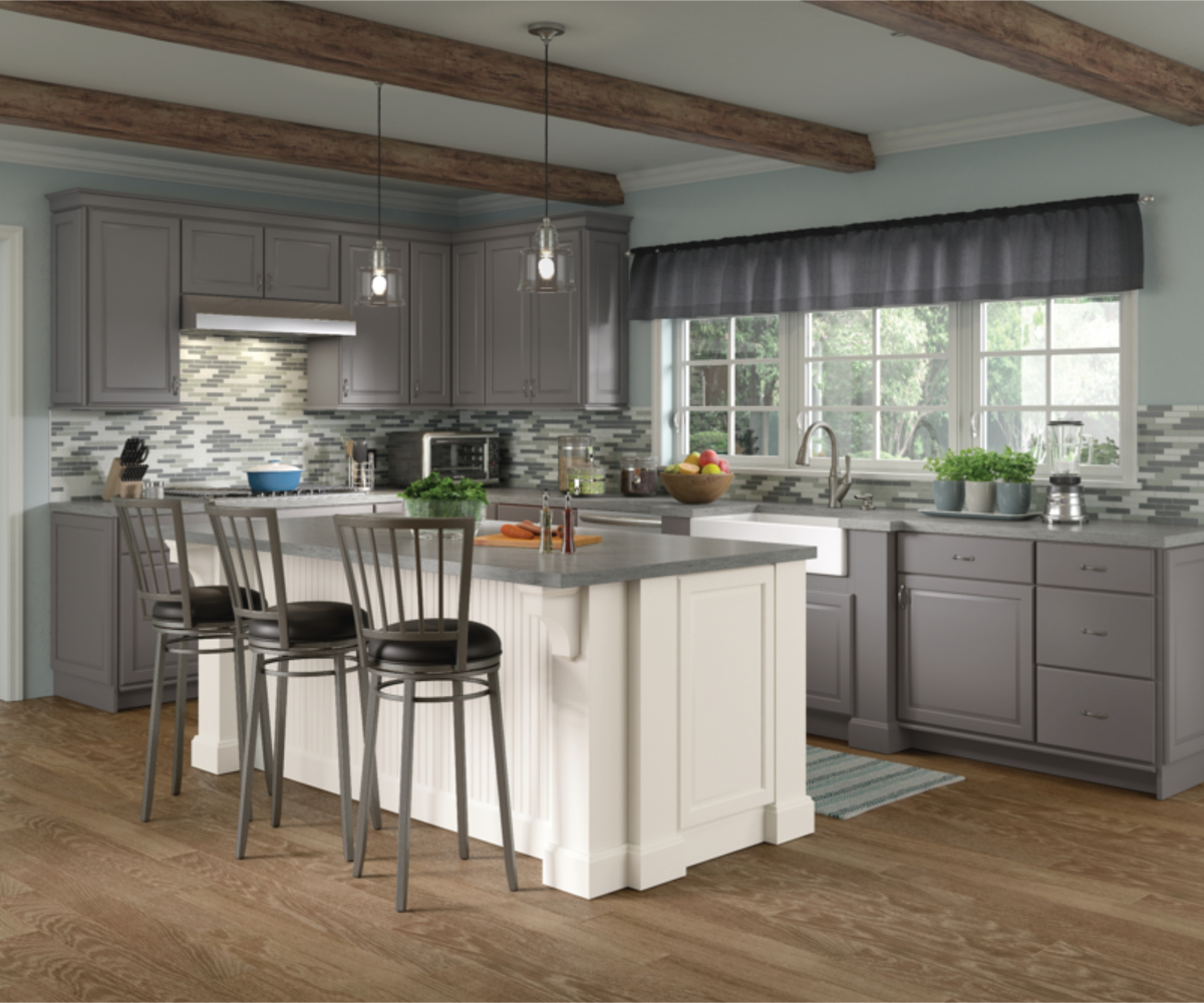 Frameless Kitchen Cabinets Modern: Fox Valley Maple Greyloft And Maple Dove White