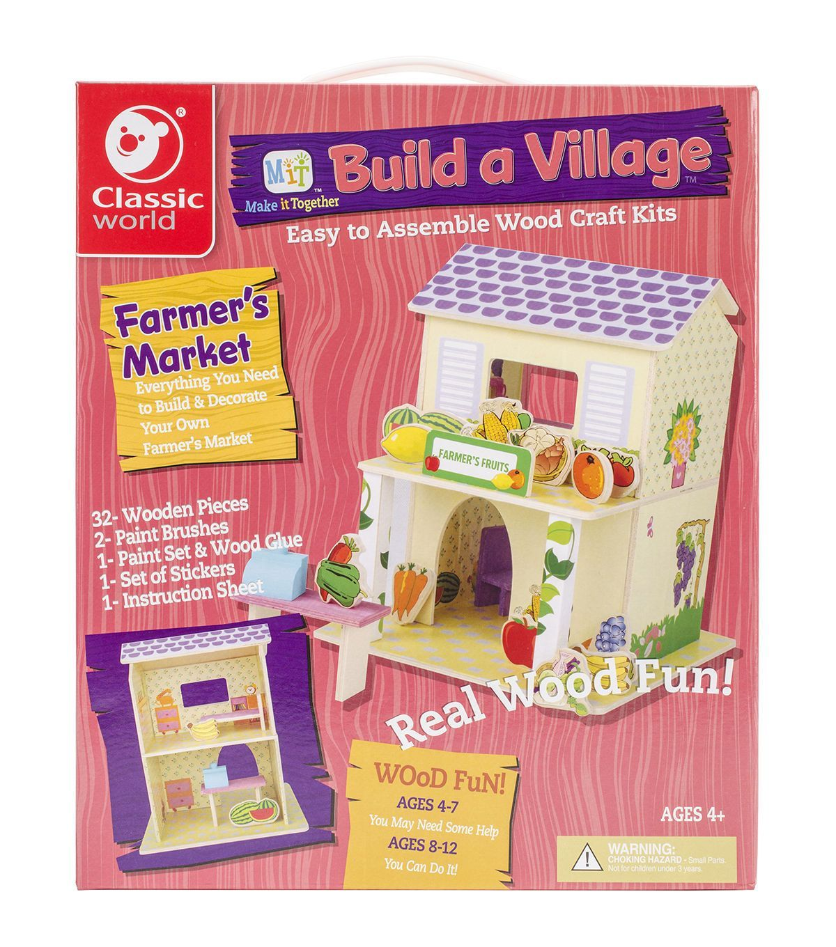 Kids wood craft kits - Classic World Mit Build A Village Wood Craft Kit Farmer S Market