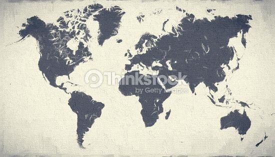 Blue physical world map on white canvas background XXXL size image