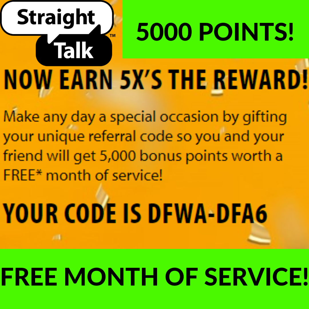 Free Month Of Service 5000 Points Use Code Dfwa Dfa6 Change To Straight Talk Wireless And Save A Ton Straight Talk Wireless Free Promo Codes Contract Phones