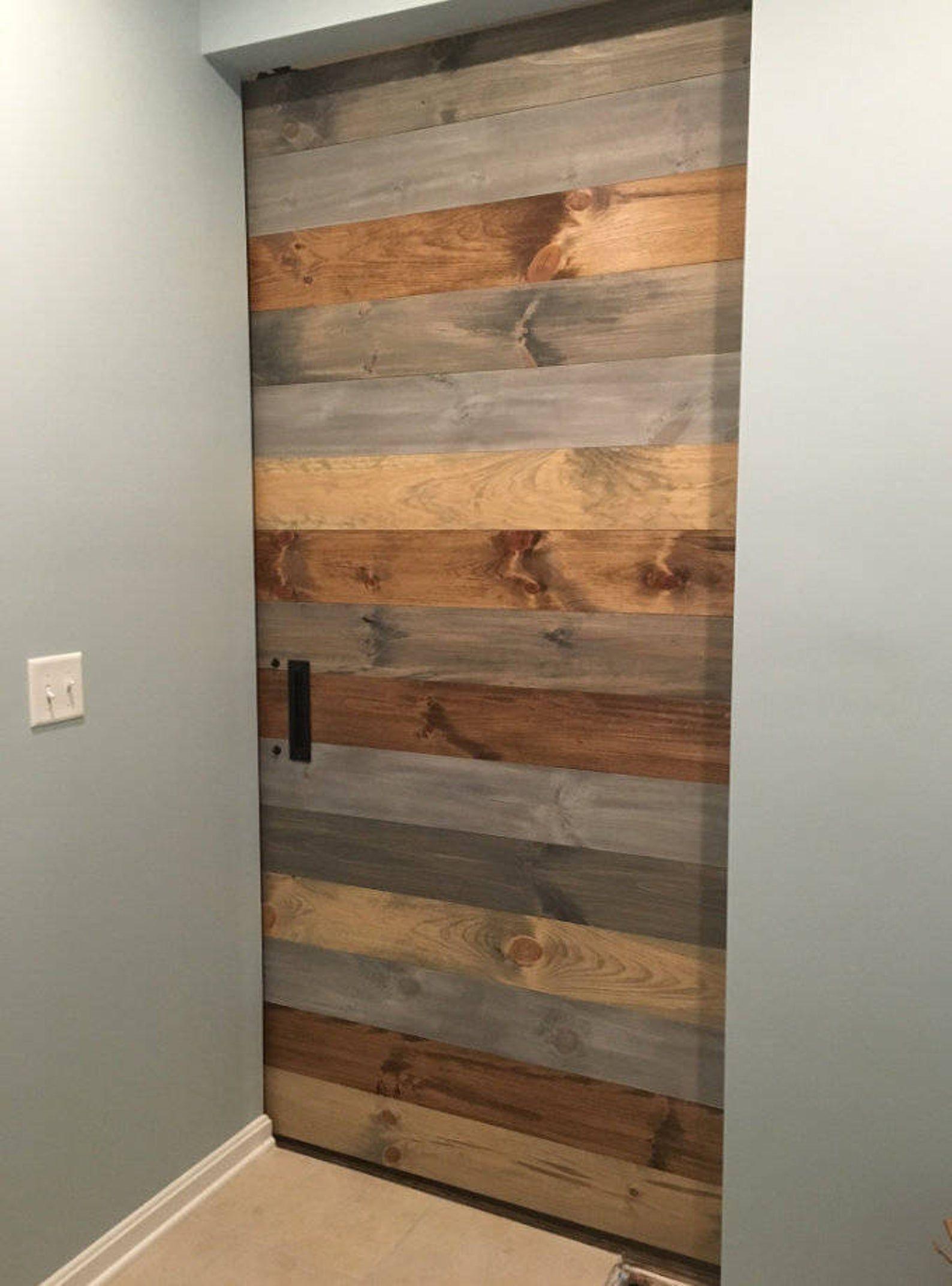 Custom Rustic Barn Door Multi Stain Horizontal Plank Etsy In 2020 Rustic Barn Door Wood Doors Interior Custom Barn Doors