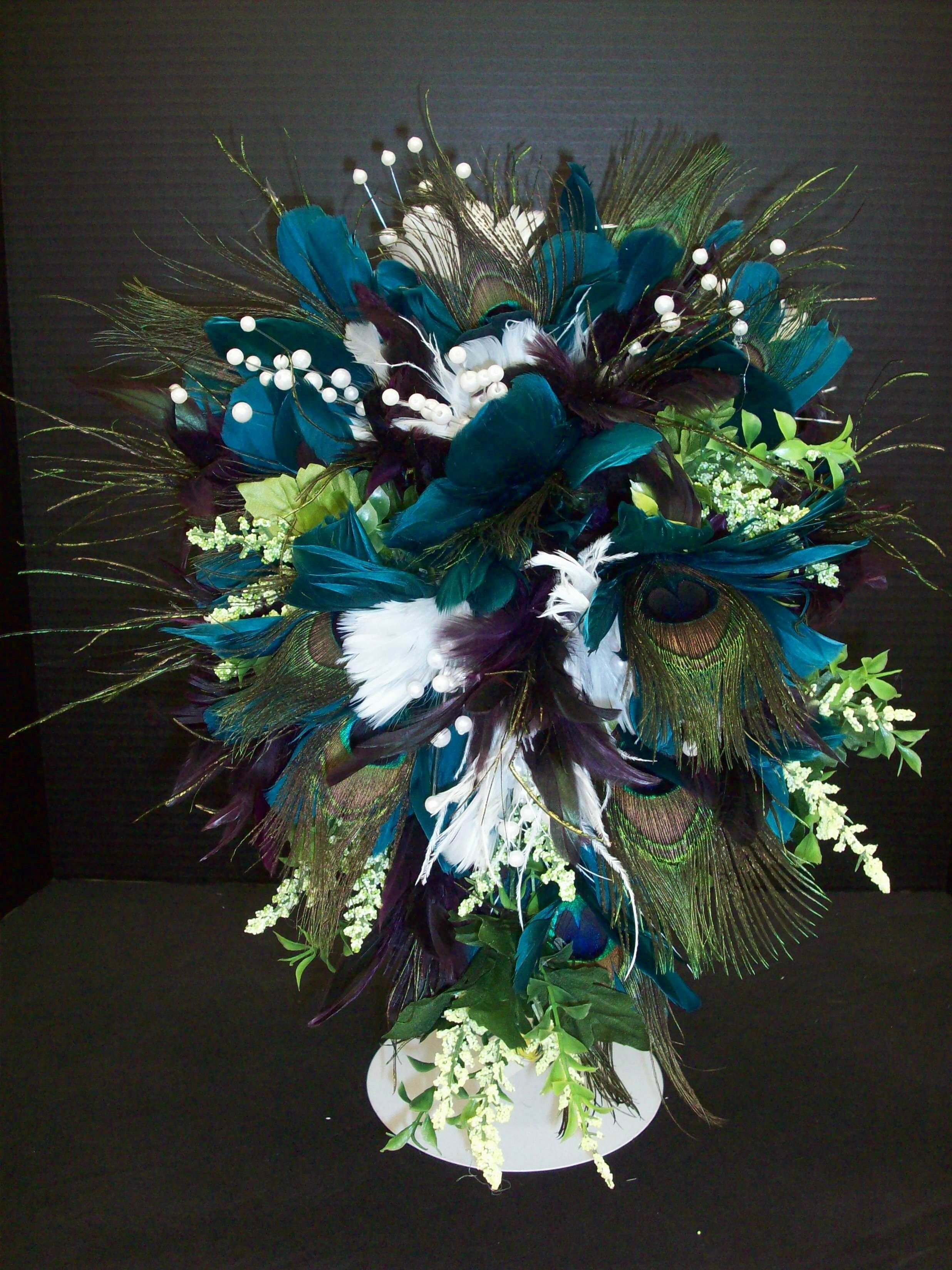 Peacock Feather Centerpiece Designed By Karen B AC Moore Erie PA